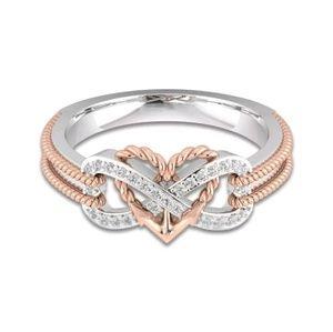 ♾ Infinity love 925 silver topaz ring